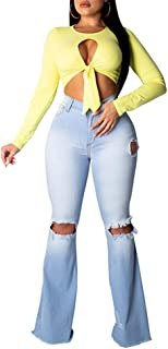 Destroyed Bell Bottom Jeans for Women Classic Mid Waisted Slim Fit Ripped Flared Denim Pants