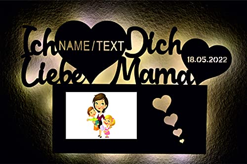 Lámpara de noche con marco de fotos para el Día de la Madre, corazón personalizable con texto y fecha grabado láser, regalo para madre