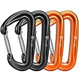 Favofit Carabiner Clips, 4 Pack, 12KN (2697 lbs) Heavy Duty Caribeaners for Camping, Hiking, Outdoor and Gym etc, Small Carabiners for Dog Leash and Harness, Black and Orange