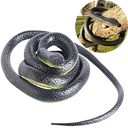 Wankko Realistic Rubber Black Mamba Snake Toy Garden Props 52 Inch Long Scare Toy