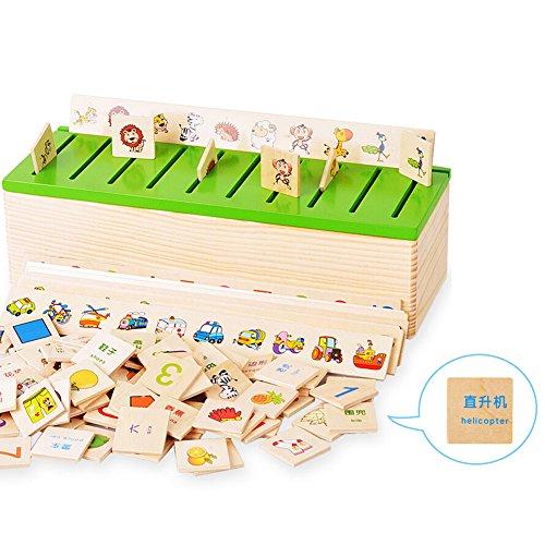 Caja de madera con caja de clasificación – juguete inspirado en el método Montessori – clasificación en inglés