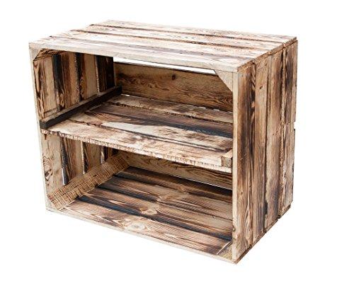 Geflammte Kiste für Schuhregal und Bücherregal - Obstkiste flambiert mit Mittelbrett längs - Holzkiste aus dem Alten Land - massiv stabil - Kistenregal Obstkistenregal 50x40x30cm (1 Kiste, 1)