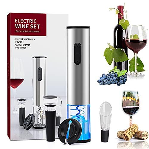 Sacacorchos eléctrico 4 en 1, abridor de vino electricoautomático que contiene cortador...
