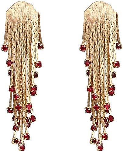 ZHENAO Ladies Handmade Earrings Vintage Metal Chain Tassel Earrings Rhinestone Statement Earrings for Woman Party Casual Exquisite