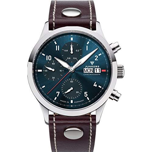 Junkers Cockpit Analog Quarz Flieger Uhr Chronograph Lederarmband Saphirglas blau 9.14.01.12