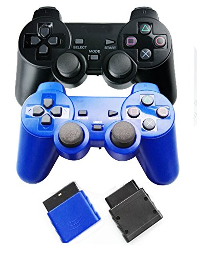 Bowink 2 Packs Wireless Gaming Controllers for Ps2 Double Shock - Blue+Black