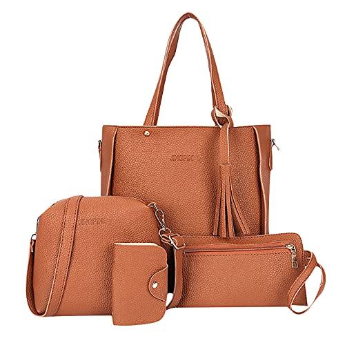 Zewuai Handtaschen Damen Elegant 4-teiliges Set Handtasche + Schultertasche + Brieftasche + Kartenpaket Daypack mit Reißverschluss Groß Kapazität Umhängetasche Geldbörse Set (Braun, M)