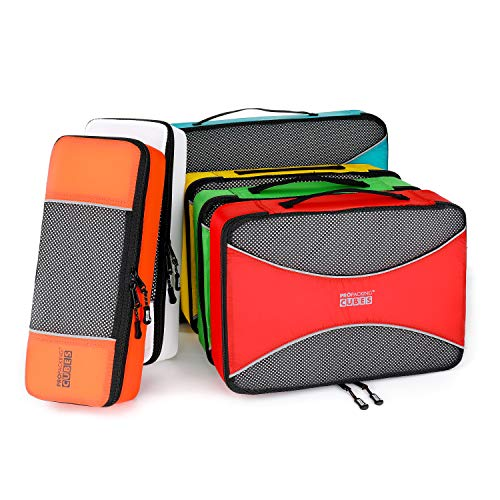 PRO Packing Cubes | 6 Piece Travel Bags Organiser Set for Luggage | Multi-Size Ultralight Travel Cubes | Suitcase Organizer Bags to Make Packing Easy (Adventure)