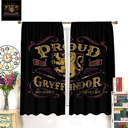 Thermoisolierte Vorhänge Harry Potter Gryffindor Vorhänge für Wohnzimmer Kinderzimmer 107 x 160 cm