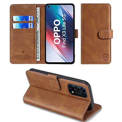 FMPC Hülle kompatibel mit Oppo Find X3 Lite 5G/Reno5 5G,Flip Handyhülle Ständer TPU Brieftasche Magnetische Klapphülle Ledertasche Hülle für Oppo Find X3 Lite 5G/Reno5 5G Schutzhülle,Braun