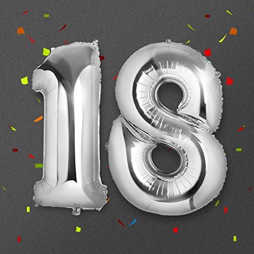 Meersee Palloncino 18 Anni Gigante, Palloncino Numero Pallone ad Elio Palloncino Decorazione di Compleanno 40 Pollici in Argento Numero 18