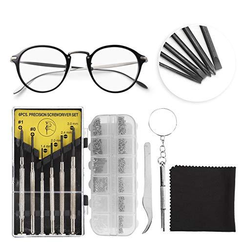 Brillenreparatieset, brillenreparatieset met schroevendraaier en neuspads, schroef pincet voor brillen, brillen, zonnebrillen en horlogereparatie.