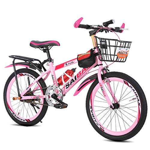 20/22/24 Pulgadas Mountain Bike Unisex Frenos De Doble Disco Asiento Ajustable Bicicletas Montaña MTB para Hombre Mujer para Niños De 8 A 17 Años,Rosado,24 Inch