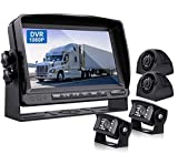 ZEROXCLUB Wired Backup Camera Kit with 9'' DVR Quad Split Monitor, 1080P FHD Rear Side View Camera, IP69 Waterproof + Parking Lines Reversing Cameras for Truck/Semi-Trailer/Box Truck/RV-Y904