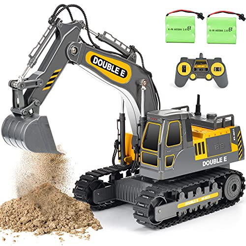 DOUBLE E Remote Control Excavator Toy Sandbox Diggers 2 Batteries Engineering RC Construction Vehicle Tractor Trucks for Boys Girls Kids, E571-003, Grey Yellow