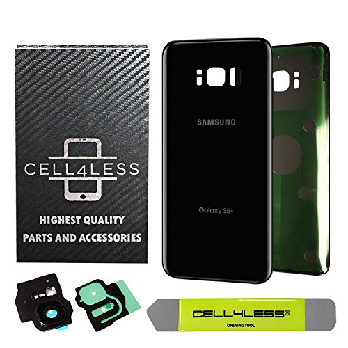 CELL4LESS Replacement Back Glass Cover Back Battery Door w/Custom Removal Tool & Pre-Installed Adhesive for Samsung Galaxy S8 Plus OEM - All Models G955-2 Logo - OEM Replacement (Midnight Black)