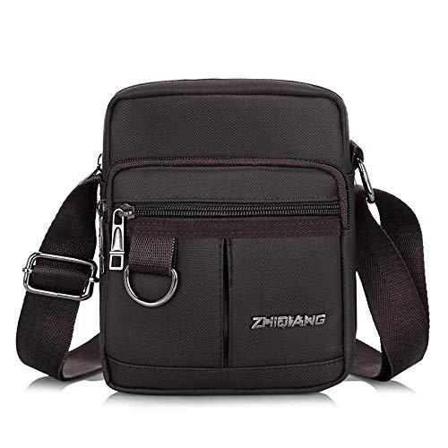 BeniNew men's bag messenger bag Oxford canvas diagonal bag-Brown