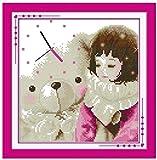 Cruz para adultos Kits de punto puesta Osito de peluche,lienzo preimpreso 11CT Bordado de kit de punto de cruz de arte DIY,regalo principiantes para la decoración del hogar,40x50cm