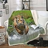 BraveLiuzhi Tiger 3D Druck Plüsch Fleece Decke Erwachsene Mode Quilts Hause Büro Waschbar Duvet...