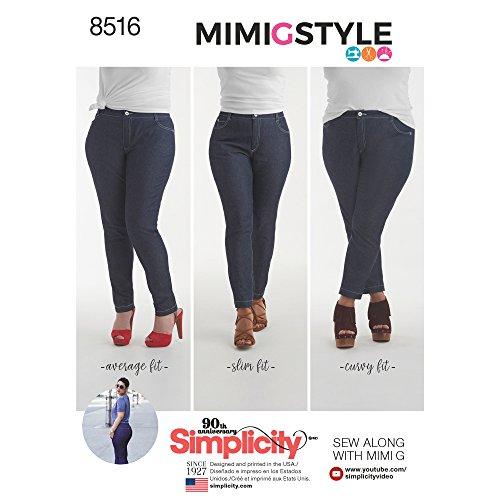 Simplicity patroon 8516 H5 (6-8-10-12-14) Misses 'Mimi G Skinny Jeans, papier, wit, 22 x 15 x 1 cm