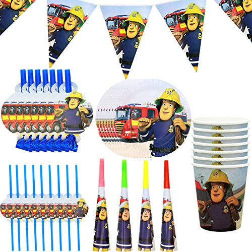 WENTS Gebutstag Party Set 51-Teiliges Party-Set Feuerwehrmann Sam Teller Becher Servietten Tischdecke Geburtstag Dekoration Set Happy Birthday Deko Bunte Partykette Girlande Banner