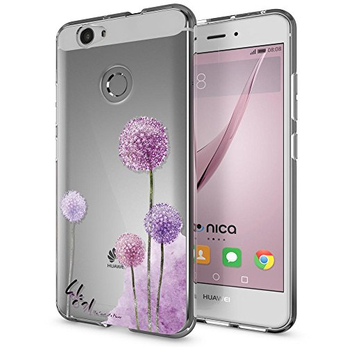 NALIA Handyhülle kompatibel mit Huawei Nova, Slim Silikon Motiv Hülle Cover Hülle Crystal Schutzhülle Dünn Durchsichtig, Etui Handy-Tasche Back-Cover Smart-Phone Bumper, Designs:Dandelion Pink