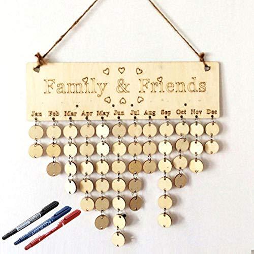 Family Birthday Board - kreative DIY Holz Erinnerung Board - Kalender Zeichen Plaque Geburtstag/Newlywed/Valentinstag/Jubiläum (B)