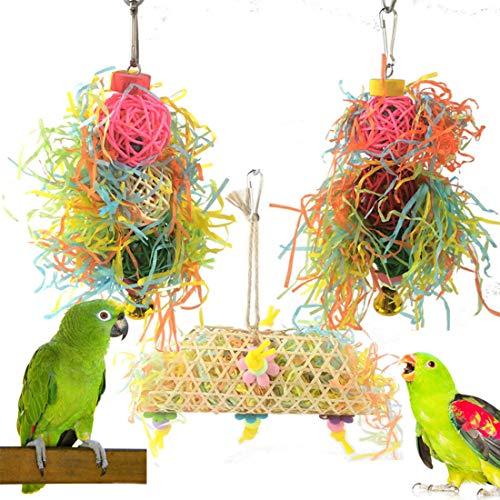 DUJIAOSHOU 3 paquetes de jaula para pájaros, columpio, columpio, perca, con campana, escalera de madera, hamaca para conures