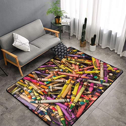 Jingclor Area Rugs, Memory Foam Doormat Shaggy Rugs, Children Play Mat Toilet Bath Rug with Anti-Slip Rubber Backing, Colorful Crayon Seamless Pattern Indoor Outdoor Entryway Carpet