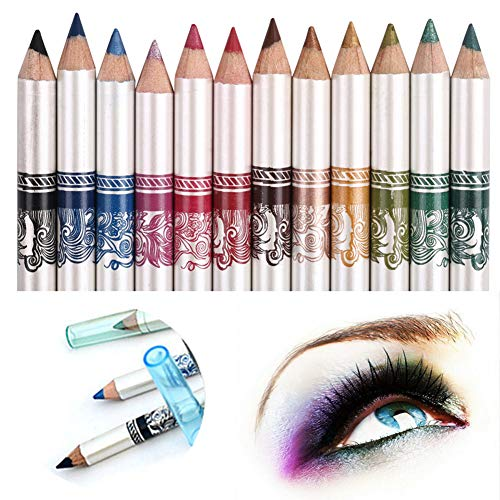 CINEEN 12 Colores Larga Duracion Delineador de ojos Delineador de Labios Lápiz de Cejas Cosméticos de Belleza Maquillaje de Impermeables al Agua