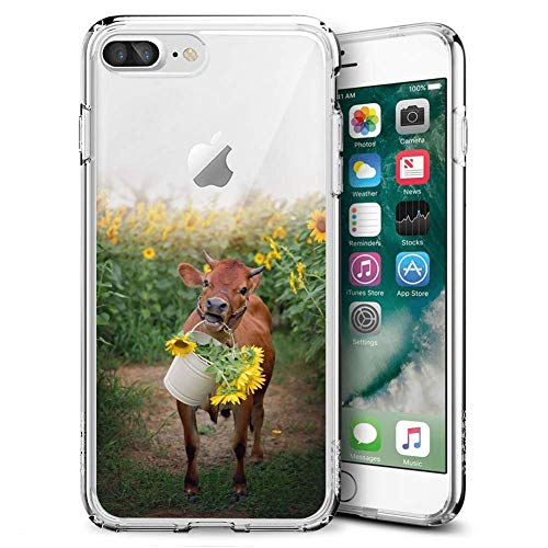 YC Hongda iPhone 7 Plus 8 Plus Case Cows and Sunflowers,UV Print Clear Transparent Case Scratch Resistant Shock-Absorbing Case Soft Flexible Protective Case for iPhone 7 Plus 8 Plus