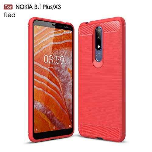 CruzerLite Nokia 3.1 Plus Custodia, Carbon Fiber Shock Absorption Slim TPU Cover for Nokia 3.1 Plus (2018) (Red)