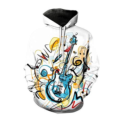 Dsti Unisex 3D Musical Note impresión Sudaderas con Capucha Jersey Ropa Chaqueta con Capucha Sudadera,XS