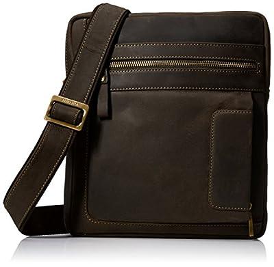 Visconti Owen Distressed Leather Messenger Shoulder Bag Handbag, Brown
