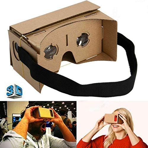 Google Cardboard VR Virtual Reality 3D Glasses With Comfortable Head Strap and Optical Lens, Compatible with iPhone, Samsung, Google Pixel, LG, HTC, Nokia, Xperia, Motorola and other Smartphones