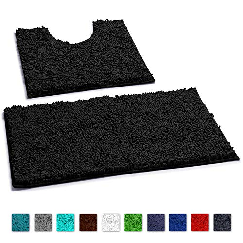 LuxUrux Bathroom Rugs Luxury Chenille 2-Piece Bath Mat Set, Soft Plush Anti-Skid Shower Rug +Toilet Mat.1'' Microfiber Shaggy Carpet, Super Absorbent Machine Washable Bath Mats (Curved Set, Black)