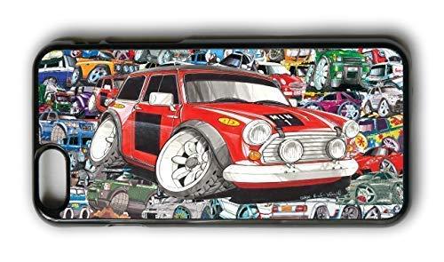 Koolart Stickerbomb Ontwerp Met Gelicentieerde Retro Klassieke Mini Cooper Werkt Rally Auto Afbeelding Mobiele Telefoonhoesje Cover Om te passen iPhone 7 Plus en 8 Plus