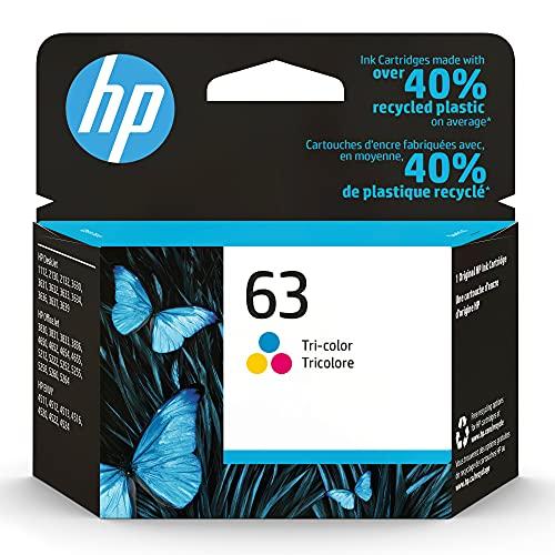 Original HP 63 Tri-color Ink Cartridge | Works with HP DeskJet 1112, 2100, 3600 Series, HP ENVY 4500 Series, HP OfficeJet 3800, 4600, 5200 Series | Eligible for Instant Ink | F6U61AN