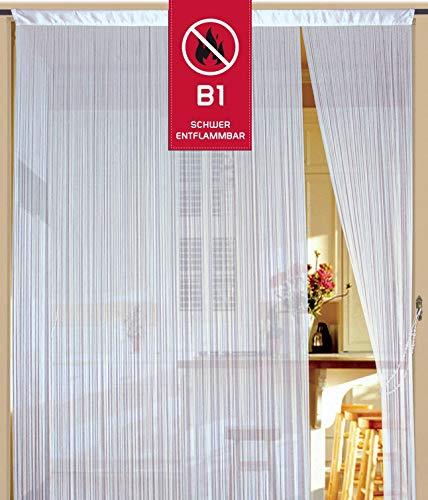 Fadenvorhang 100 cm x 200 cm weiß in B1 schwer entflammbar