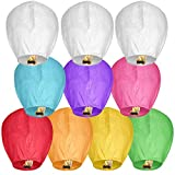 10 Pack Mix Chinese Sky Lanterns Wish Lantern for Wedding Birthday Party Anniversary 100% Biodegradable Environmentally Friendly (10 Pack)