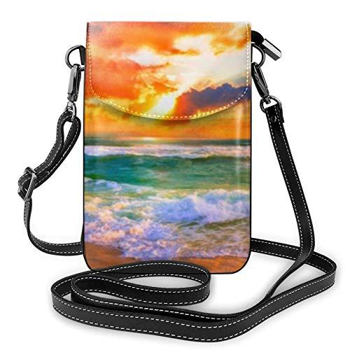 AOOEDM Small Cell Phone Purse Crossbody Cell Phone Purse Ocean Rainbow Beach Sunset Or Sunrise Small Crossbody Bags Women Pu Shoulder Bag Handbag