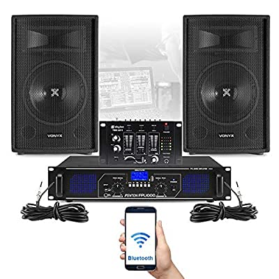 "VONYX SL 12"" Bluetooth PA Speakers and Amplifier, Mixer and Mic FPL1000 MP3 Mobile DJ"
