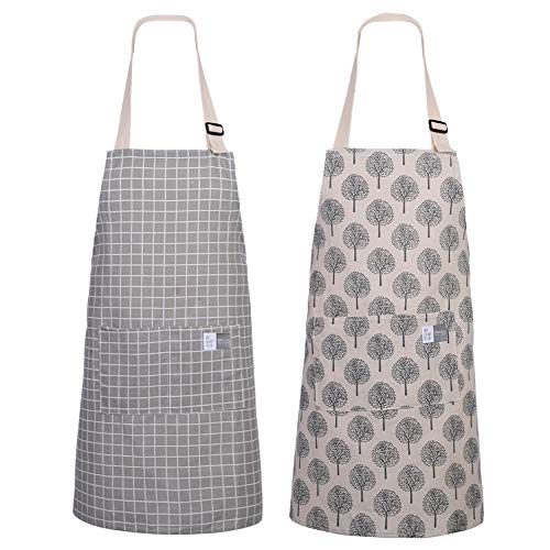 Gitua 2 Stücke Einstellbare Schürze mit 2 Taschen, Resistant Küchenschürze für Küche, Restaurant, Café (Grau & Braun)