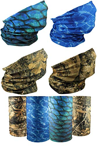 [4 Pack] UV Cooling Camo Neck Gaiter | UPF 50+ Sun/Wind/Dust Protection | Multipurpose Neck Gaiter for Men and Women | Summer Buff Tube Bandana Gaiter Mask Seamless Face Cover…