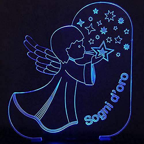 ilusión óptica 3D LED Lámpara de Escritorio Ángel soplando estrellas Decoración Del Hogar Regalo De Cumpleaños Para Niños Habitación De Niños Con interfaz USB, cambio de color colorido