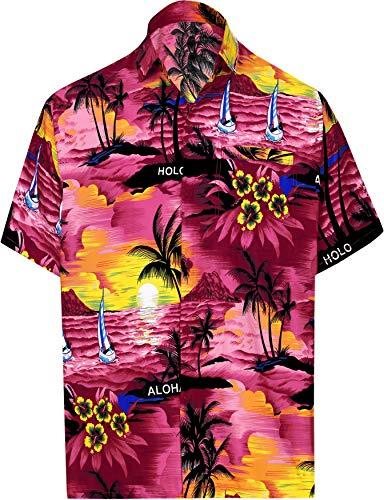 LA LEELA Shirt Camicia Hawaiana Uomo XS - 5XL Manica Corta Hawaii Tasca-Frontale Stampa Hawaiano Casuale Regular Fit rosa538 XS