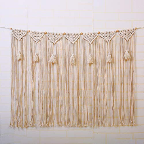 Laddawan Macrame Wall Hanging Wall Tapestry Large Bohemian Wall Decoration for Wedding Backdrop Curtain Fringe Garland Banner Bedroom Living Room Gallery Baby Nursery (NO.5)