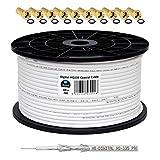 HB-Digital HQ-135 PRO Câble satellite coaxial à quadruple blindage pour installations DVB-S/S2, DVB-C et DVB-T BK avec 10 fiches F plaquées or 130 dB 100 m
