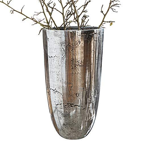 Loberon Vase Canéjan, Aluminiumguss, H/Ø ca. 26/15 cm, antiksilber