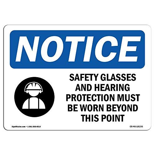 Diuangfoong OSHA Hinweisschilder Sicherheitsbrille und Gehörschutz Schild mit Symbol, extrem langlebig, aus Aluminium, 30,5 x 45,7 cm